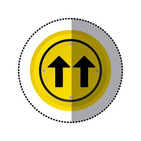 two lane highway: sticker yellow circular frame same direction arrow road traffic sign vector illustration Illustration