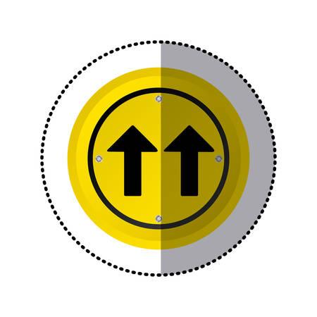 sticker yellow circular frame same direction arrow road traffic sign vector illustration Illustration