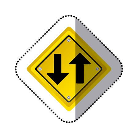 sticker yellow diamond shape frame two way traffic sign vector illustration Vetores