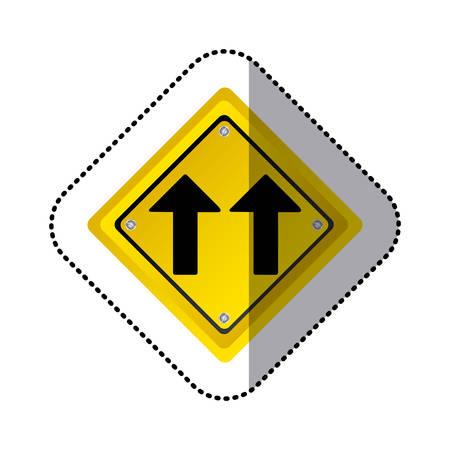 two lane highway: sticker yellow diamond shape frame same direction arrow road traffic sign vector illustration