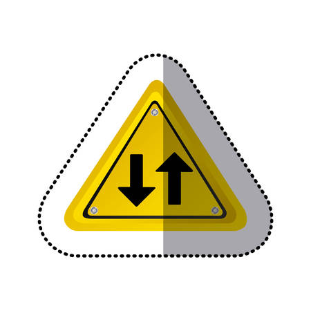 sticker yellow triangle shape frame two way traffic sign vector illustration