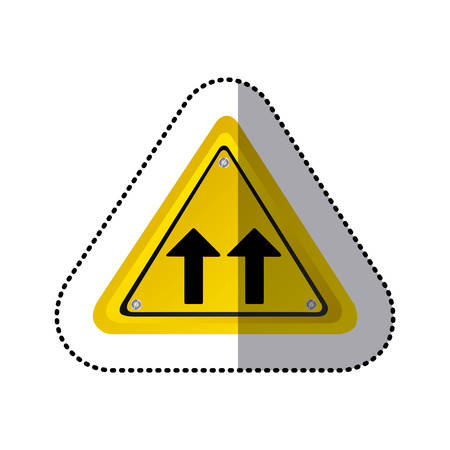two lane highway: sticker yellow triangle shape frame same direction arrow road traffic sign vector illustration
