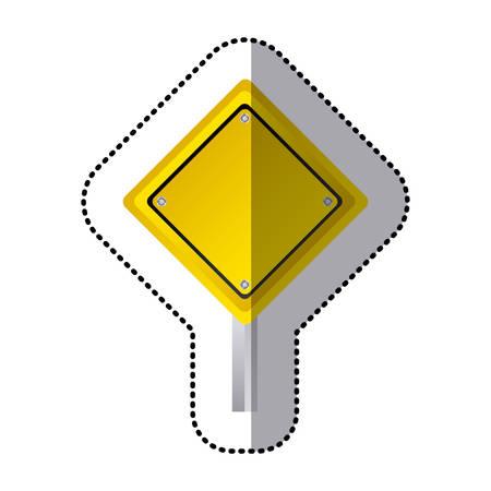 traffic pole: sticker yellow diamond shape traffic sign with base pole vector illustration
