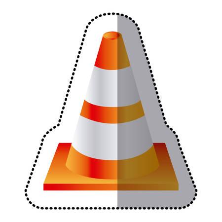 road works ahead: sticker realistic striped traffic cone flat icon vector illustration Illustration