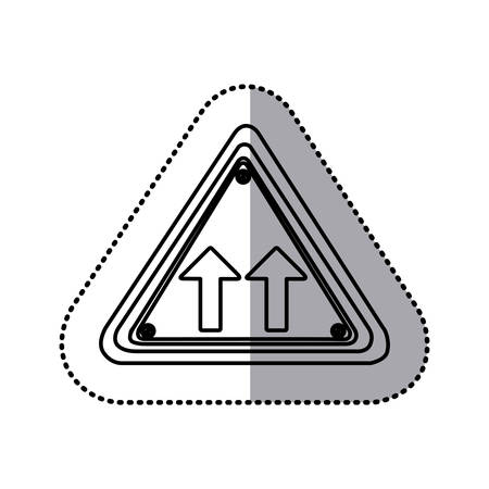 two lane highway: sticker silhouette triangle shape frame same direction arrow road traffic sign vector illustration