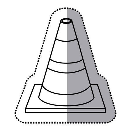 sticker silhouette striped traffic cone flat icon vector illustration Illustration