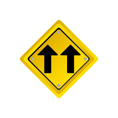 two lane highway: metallic realistic yellow diamond shape frame same direction arrow road traffic sign vector illustration