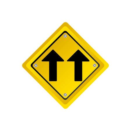 metallic realistic yellow diamond shape frame same direction arrow road traffic sign vector illustration