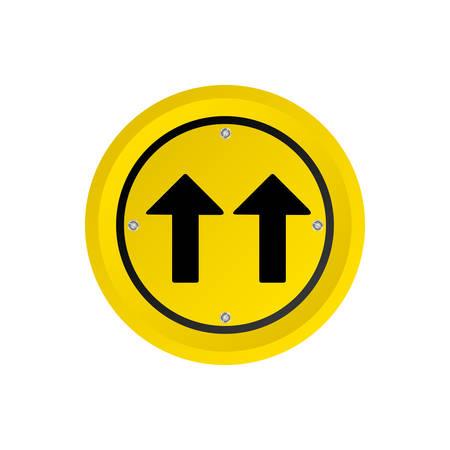 two lane highway: metallic realistic circular frame same direction arrow road traffic sign vector illustration
