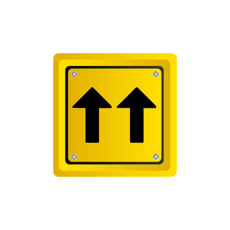 metallic realistic yellow square shape frame same direction arrow road traffic sign vector illustration Illustration