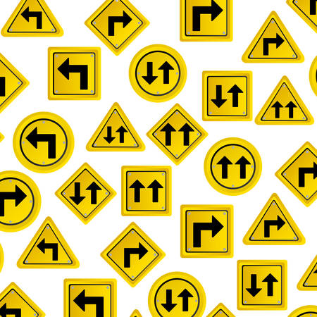 pattern road traffic sign with arrows set vector illustration