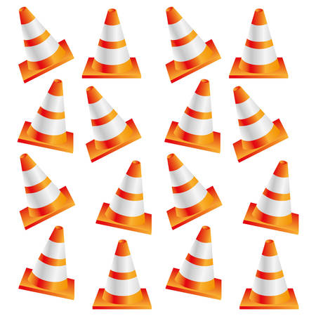 road works ahead: colorful realistic pattern traffic cone set vector illustration