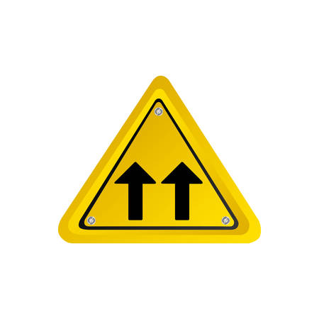 two lane highway: metallic realistic yellow triangle shape frame same direction arrow road traffic sign vector illustration