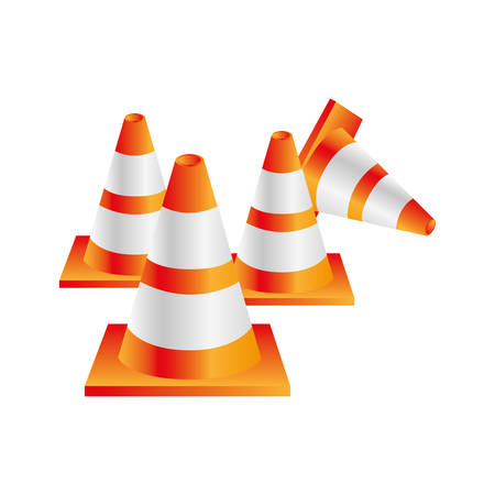 road works ahead: colorful realistic striped traffic cone set vector illustration Illustration