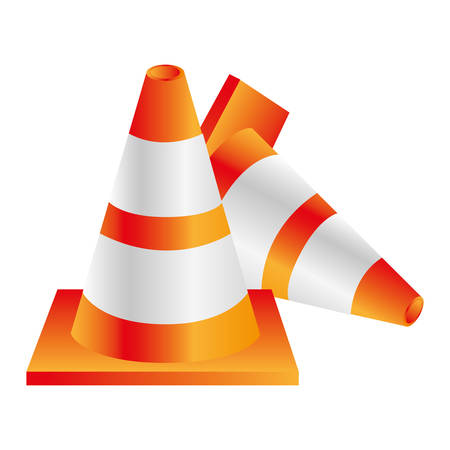 road works ahead: colorful realistic striped couple traffic cone fallen vector illustration Illustration