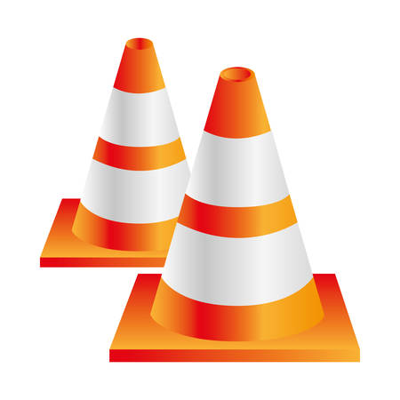 danger ahead: colorful realistic striped couple traffic cone vector illustration