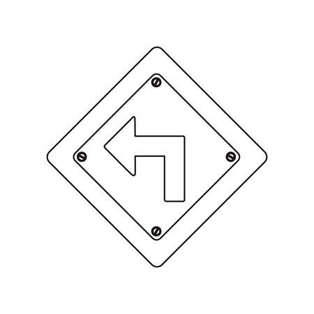 silhouette diamant métallique cadre tourner illustration vectorielle de signe de circulation à gauche