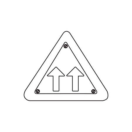 two lane highway: silhouette metallic triangle frame same direction arrow road traffic sign vector illustration Illustration