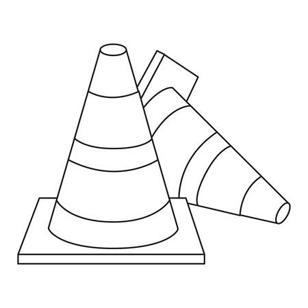 road works ahead: silhouette striped couple traffic cone fallen vector illustration Illustration