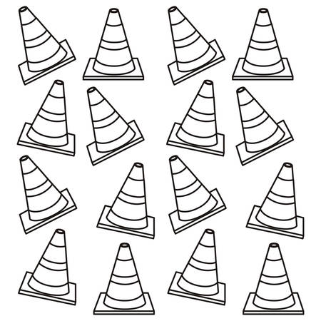 road works ahead: silhouette pattern traffic cone set flat vector illustration