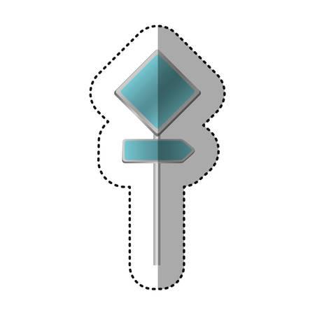 traffic pole: sticker metallic blue diamond shape traffic sign with direction board set vector illustration Illustration