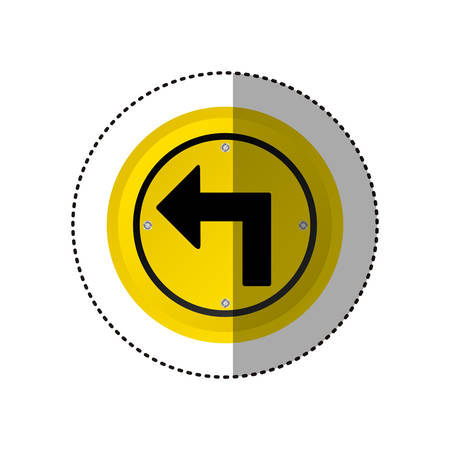 sticker metallic realistic yellow circular frame turn left traffic sign vector illustration