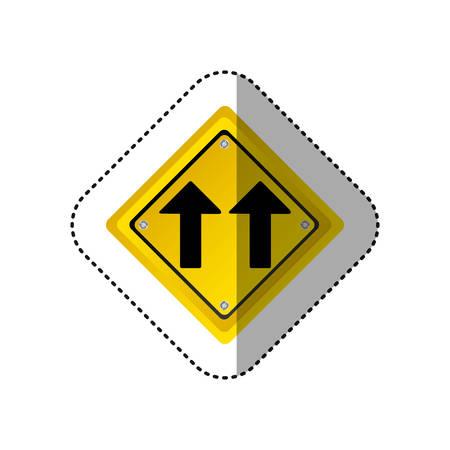 two lane highway: sticker metallic realistic yellow diamond shape frame same direction arrow road traffic sign vector illustration
