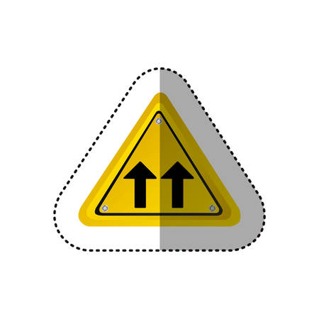two lane highway: sticker metallic realistic yellow triangle shape frame same direction arrow road traffic sign vector illustration