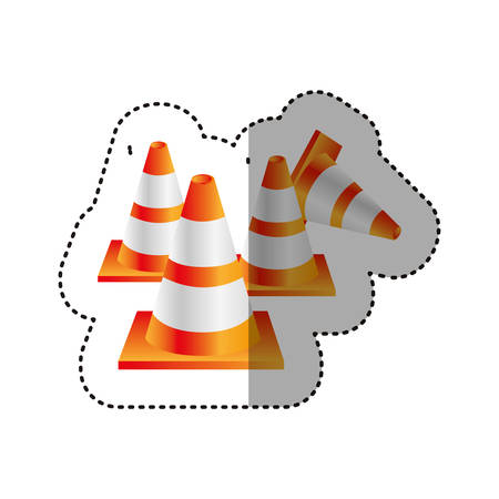 danger ahead: sticker colorful realistic striped traffic cone set vector illustration