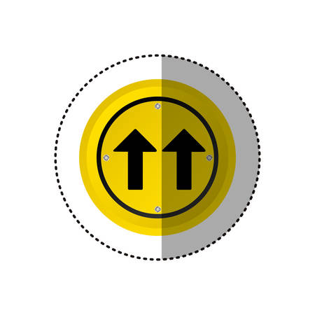 2 way: sticker metallic realistic circular frame same direction arrow road traffic sign vector illustration