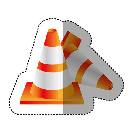 danger ahead: sticker colorful realistic striped couple traffic cone fallen vector illustration