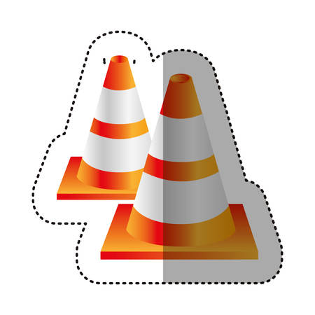 road works ahead: sticker colorful realistic striped couple traffic cone vector illustration