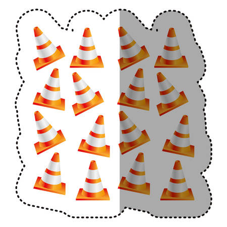 sticker colorful realistic pattern traffic cone set vector illustration