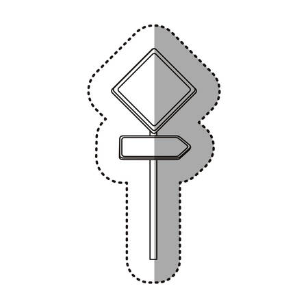 diamond plate: sticker silhouette metallic diamond shape traffic sign with direction board set vector illustration Illustration