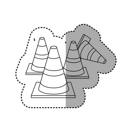 danger ahead: sticker silhouette striped traffic cone set icon flat vector illustration
