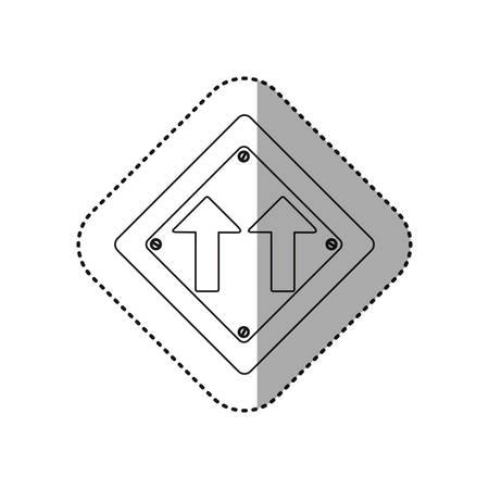 two lane highway: sticker silhouette metallic diamond shape frame same direction arrow road traffic sign vector illustration