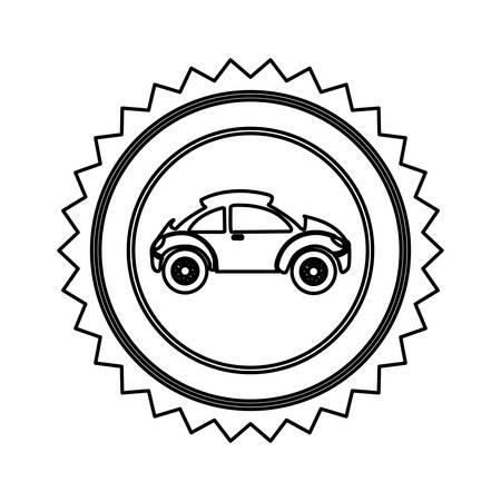 sunroof: star emblem sport car side icon, vector illustration design