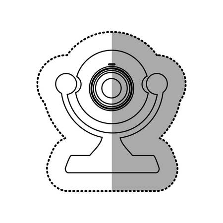 silhouette digital computer camera icon, vector illustration design