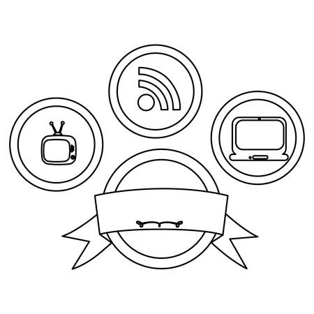 old phone: figure technology buttons apps with emblem and ribbon, vector illustration