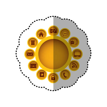 yellow technology apps connections icon, vector illustration design