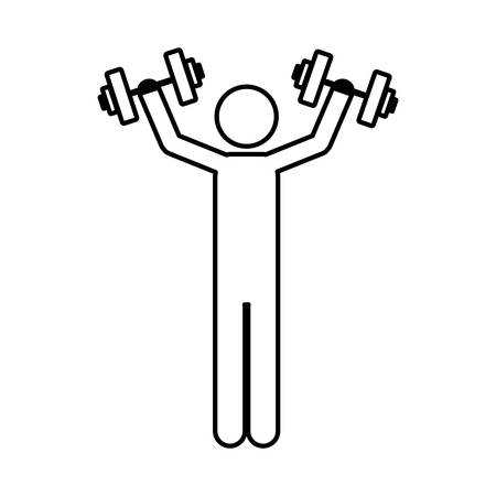 person lifting weights gym, vector illustration image Illustration