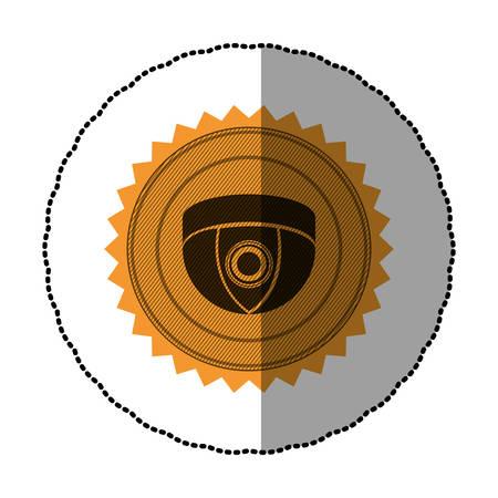 orange emblem video camera interior icon, vector illustration design Illustration