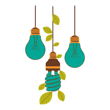 bulbs hanging with save bulb leaves icon, vector illustration