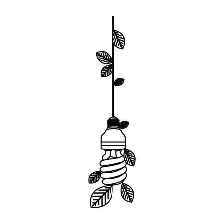 save bulb hanging with leaves, vector illustration design