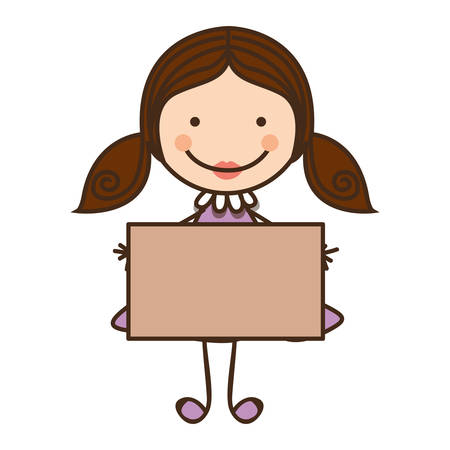 happy girl with card icon, vector illustration design Illustration