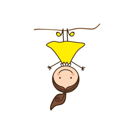 shool: happy girl play in the horizontal bar, vector illustration design Illustration
