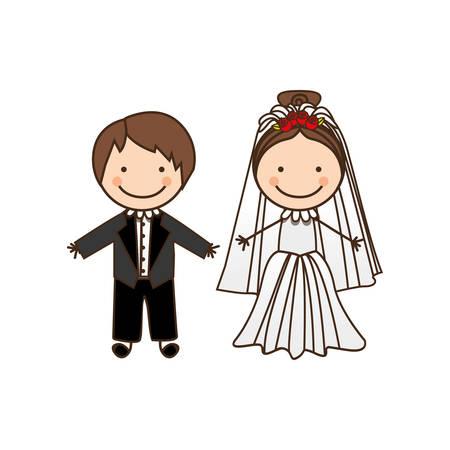 happy couple married icon, vector illustration design Vetores