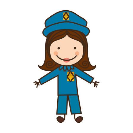 Icono de policía mujer feliz, ilustración vectorial diseño