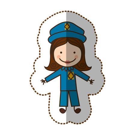 happy woman police icon, vector illustration design Illustration