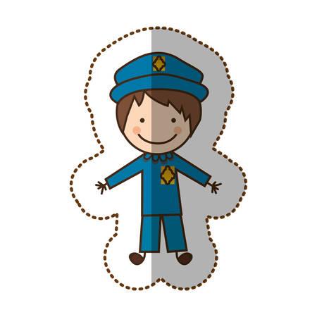 Icono de la policía hombre feliz, ilustración vectorial diseño Vectores